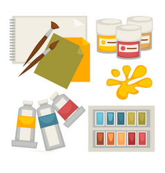 Artists supplies set in colors isolated on white vector
