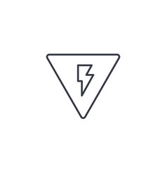 Sign of danger high voltage thin line icon vector