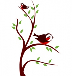 Cute birds on tree vector