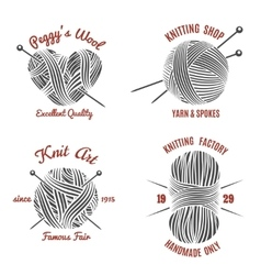 Knitting labels and knitwear logo vector