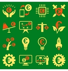 Euro banking business and service tools icons vector