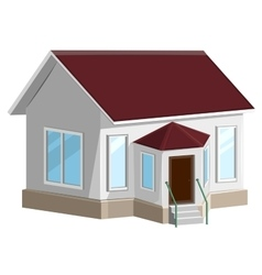 White stone house with bay window vector