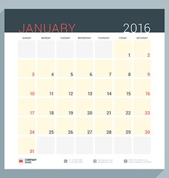 Calendar planner for 2016 year stationery design vector