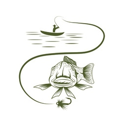 Fisherman in boat and funny trout vector
