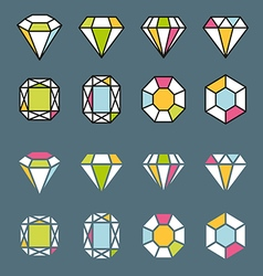 Design facet crystal gem shape logo element lined vector