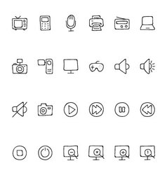 Media Hand Drawn Doodle Icons 1 vector image