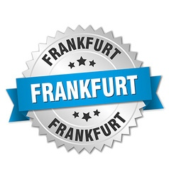 Frankfurt round silver badge with blue ribbon vector