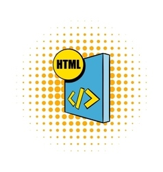 Html file icon in comics style vector