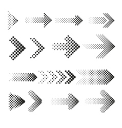Dotted halftone arrows set vector