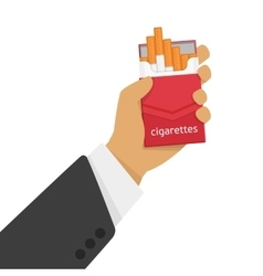 Pack of cigarettes in hand vector image