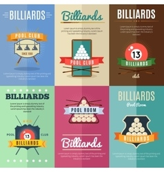 Billiards label set vector