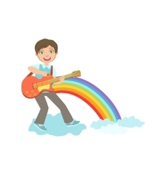 Boy playing guitar with rainbow and clouds vector