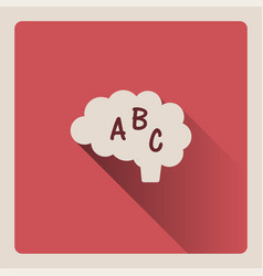 brain thinking in language on red background with vector image vector image