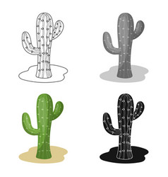 Cactus icon in cartoon style isolated on white vector