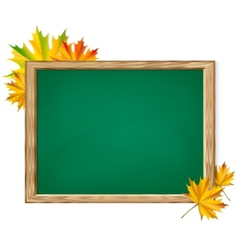 Chalkboard and autumn leaves vector image