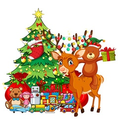 Christmas theme with reindeer and christmas tree vector image vector image