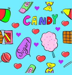 Collection stock candy on doodle style vector