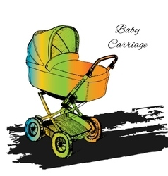 Colorfull stroller carriage vector