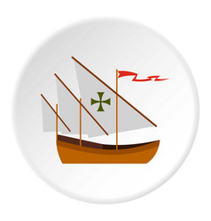 Columbus ship icon circle vector
