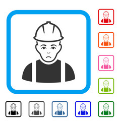 Contractor framed unhappy icon vector