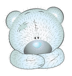 Cute blue teddy bear vector image