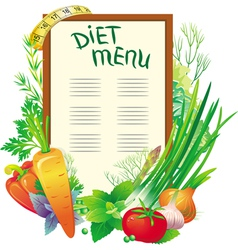 Diet menu with a group of vegetables vector