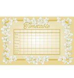 Golden timetable weekly schedule with jasmine vector