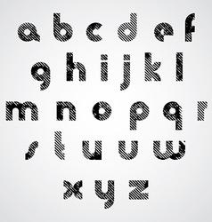 Grunge black striped lower case letters decorative vector