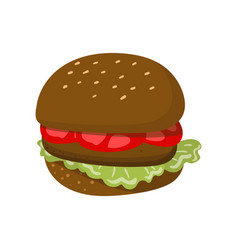 Hamburger with cheese lettuce meat patty and bun vector