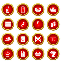 laundry icon red circle set vector image vector image