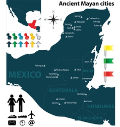 Map of the Mayan cities vector image