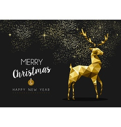 Merry christmas happy new year gold deer origami vector image vector image