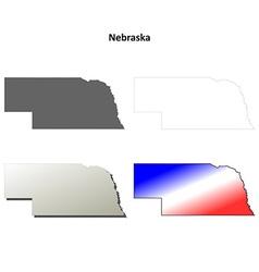 Nebraska outline map set vector