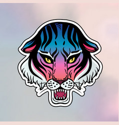Neon pop wild cat design - angry tiger face vector