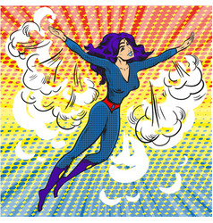 Pop art comic superwoman character in clouds and vector