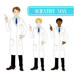 Scientist man pointing up with serious face vector