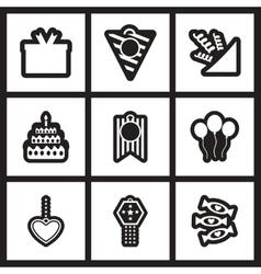 Set of black and white icons celebration vector
