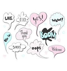 Set of cute speech bubble with text in doodle vector
