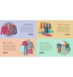 Set of Outwear Shoes Accessories Look Banners vector image