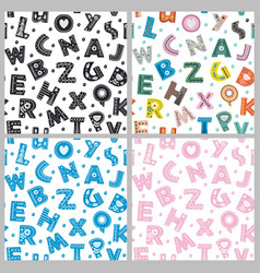 set of seamless pattern with letters vector image vector image