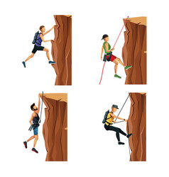 Set scene men climbing on a rock mountain without vector