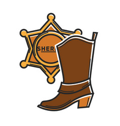 sheriff badge and cowboy boot usa america travel vector image