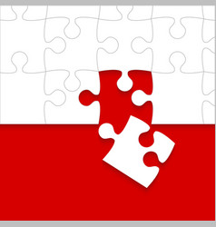 some white puzzles pieces red - jigsaw vector image