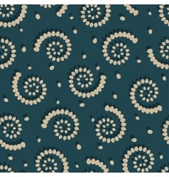 Swirls on green background seamless pattern vector image