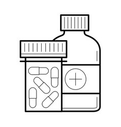 Tablet and capsule in bottle vector