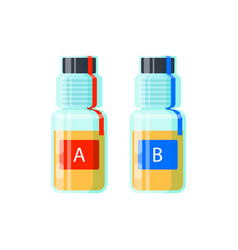 Two urine test tubes for analysis of doping - vector