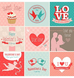 valentines card set vector image
