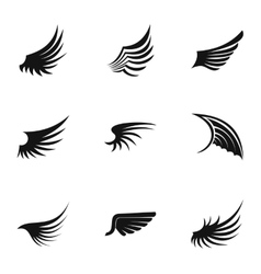 Wings icons set simple style vector