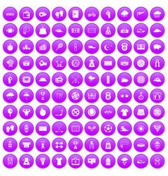100 tennis icons set purple vector