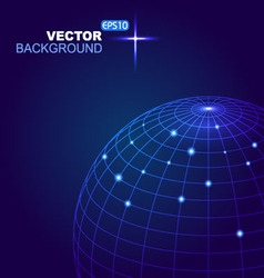 Abstract 3d sphere with blue lines and white dot vector